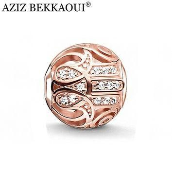 AZIZ new arrival diy fashion jewelry luxury rose gold flower beads big hole loose bead