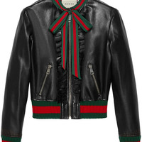 Gucci Ruffle Leather Bomber Jacket - Farfetch