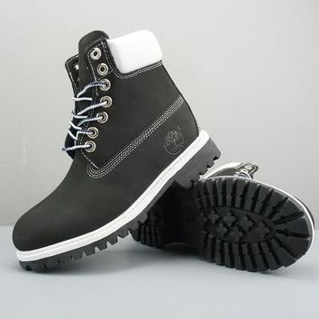 Timberland Leather Lace-Up Boot High Black White