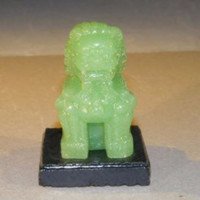 Miniature Glass Chinese Foo Lion with Wooden Stand