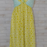 Love Stitch Love Is In The Air Maxi Dress -Chartreuse/Mint