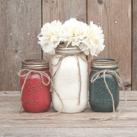 Painted mason jars. Wedding centerpiece. Blue mason jars. 4th of July decor. July 4th decor, red, white and blue