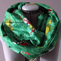 Grinch Green Red Cotton Infinity Scarf