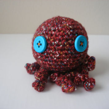 Maroon Red Multicolor Amigurumi Octopus Blue Button Eyes Kawaii Handmade Crocheted OOAK Adorable Cephalopod Squid Plushie Yarn Doll Gift