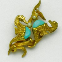 Rare Vintage BOUCHER Double Seahorse Faux Turqoise and Pearl Figural Brooch Pin