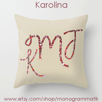 "Monogram Personalized Custom Pillow Cover ""Karolina"" 16"" x 16"" Unique Gift Her Him Couch Bedroom Room Sweet Simple Clean Cream Taupe Floral"