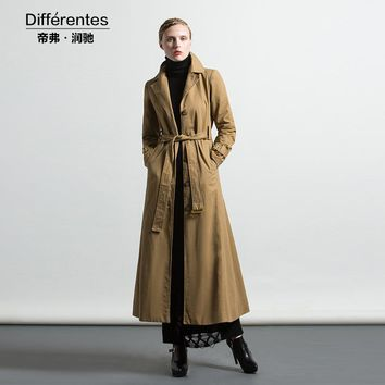 DF S-XXXL OL style British Fall Maxi Trench Women Ruffle Fashion Designer Full Sleeve Turn-Down Collar Coat Muslim Outwear 6288