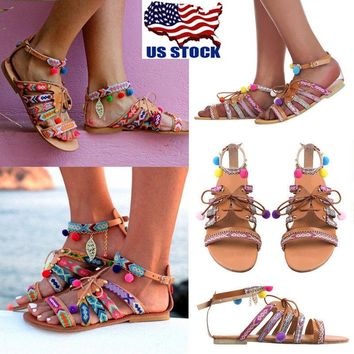 Women Lace Up Open Toe Casual Sandals Flat Gladiator Ankle Strap Pumps Shoes USA