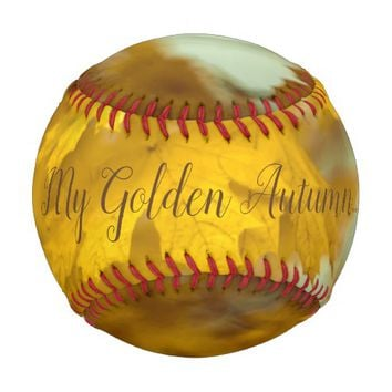 Yellow autumn maple leaves. Add text. Baseball