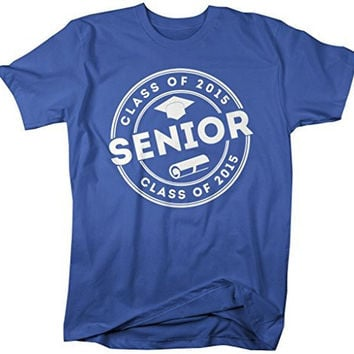 Shirts By Sarah Men's 2015 Senior Class T-Shirt Circle Badge Hat Diploma