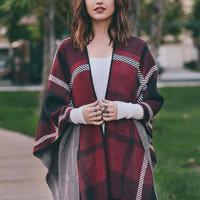 Soft Plaid Poncho - Black, Burgundy, Navy