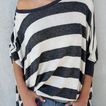 Black-White Striped Asymmetric Shoulder Going out Casual T-Shirt