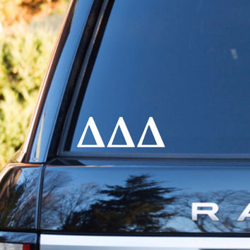 Delta Delta Delta Car Decal | Delta Delta Delta Car Sticker | Delta Delta Delta Sorority | Delta Delta Delta Laptop | Greek Stickers | 162