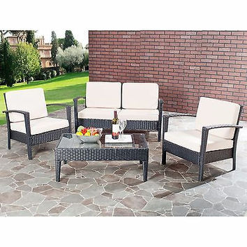Outdoor Living Beige Cushioned Black Glass Top 4-piece Patio Set Fun BBQ New