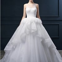 Strapless Satin Wedding Ball Gown