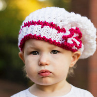 White baby beret, baby knit hat, little girl slouch, toddler beanie, baby knitwear, children fashion, babies accessories, baby clothing