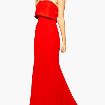 Red Strapless Fishtail Maxi Dress