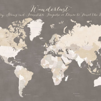 Wanderlust definition map in earth tones - white names (not recommended for MINI size) Art Print by blursbyaiShop | Society6