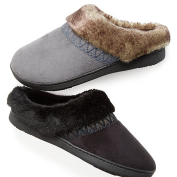 Isotoner Woodlands Microsuede Hoodback Slippers with SmartZone Technology