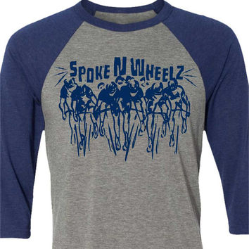 Bicycle T-shirt -The Peloton-Road Bike T-shirt-Baseball tee Grey and Blue-Bike Gift for Cyclists