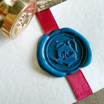 "Adorable English Tea Party ""TEA POT"" Gold Tone Plated Wax Seal Stamper"