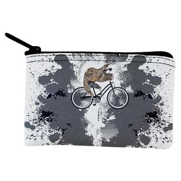 DCCKJY1 Bicycle Sloth Funny Grunge Splatter Coin Purse