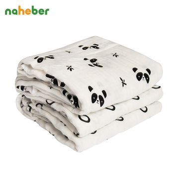Bamboo Muslin Swaddle Blanket Breathable Newborn Baby Swaddle 120*120cm Cute Animal Soft Infant Bath Towel Hold Wraps
