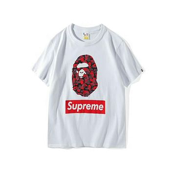 BAPE & SUPREME Joint Camouflage Classic Camouflage Print Logo T