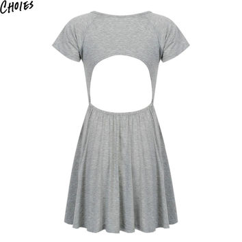 Women Gray Scoop Neck Sexy Cut out Open Back Casual Skater Mini Dress 2016 Fashion Summer Short Sleeve A Line Cotton Clothing