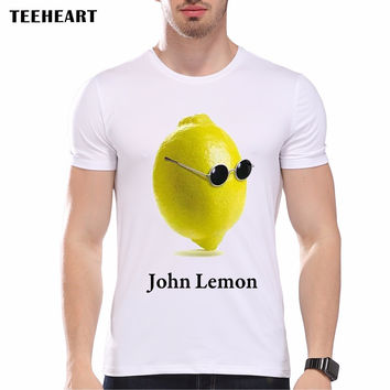 Summer Fashion Funny Fresh Sunny Fruit Printed John Lennon T Shirt Men's High Quality Tops Hipster Tees