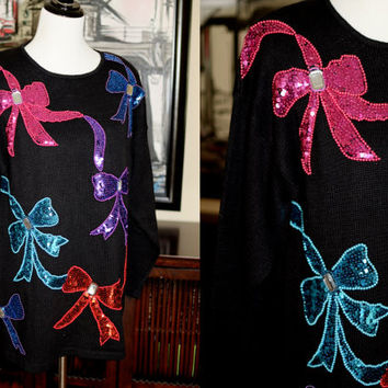 Vintage Ugly Christmas Sweater with Sequins, Beads, and Gems Colorful Bows Large