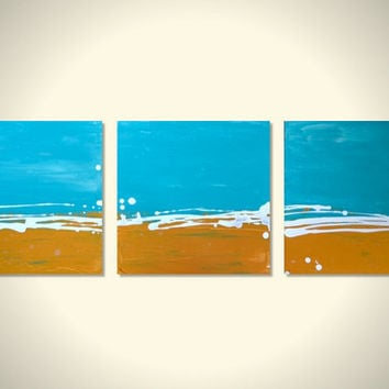 Triptych Turquoise Gold Original Abstract Beach Art Canvas Acrylic Painting - Beach, Sand, Waves, Ocean, Surf, Sky - Large - 3 Panel 12 x 12