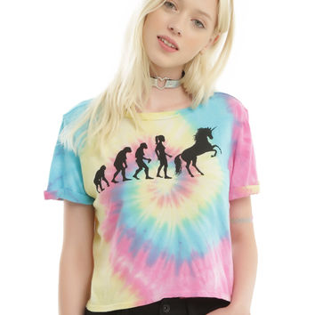 Tie Dye Unicorn Evolution Girls Crop T-Shirt
