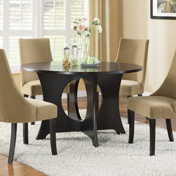 "Dark Espresso Veneer Top 52""Dia Dining Table"