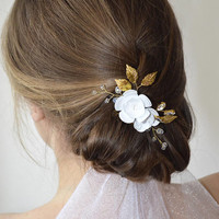 Floral hair piece, gold leaf hair comb, floral bridal hair comb, bridal hair piece, wedding hair comb, crystal hair comb, gold hair comb