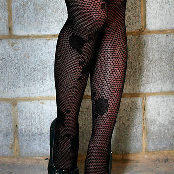 High Quality Black Honeycomb and Floral Nylon Stockings Tights Pantyhose