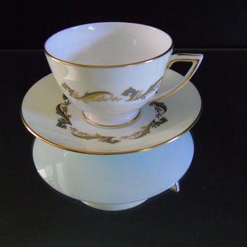 Minton China Gold Laurentian Pattern Cup and Saucer Vintage English Fine Bone China
