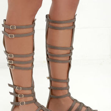 Journey to Atlantis Taupe Tall Gladiator Sandals