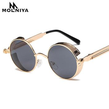 Metal Round Steampunk Sunglasses Men Women Fashion Glasses
