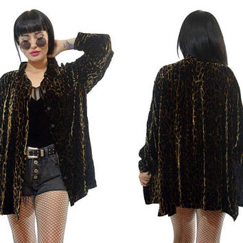 vintage 90s velvet leopard duster jacket shiny oversized silk slouchy soft grunge animal print top blouse medium large