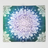 Peacock Mandala Throw Blanket by Jenndalyn | Society6