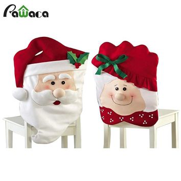 2 Pcs/set New Year Christmas Decoration Chair Covers Dining Seat Santa Claus Christmas Grandma Chair Cover For Home Party Decor