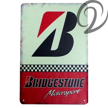 Bridgestone Motorsport 20*30 Cm Vintage Home Decor Bar Pub Garage Wall Decals Shabby Chic Tin Sign Plate Metal Plaques