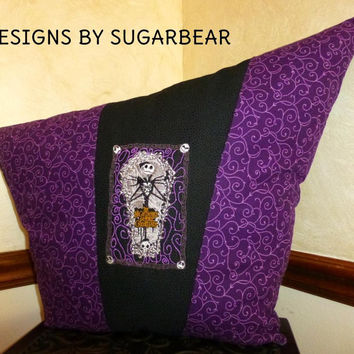 Jack Skellington Nightmare Before Christmas PILLOW BoUTIQUE Hand Crafted UNiQUE DeSiGN EMBROIDERED Exceptional Details Designs by Sugarbear