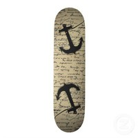 Vintage gray retro nautical anchor marine paper skateboard decks from Zazzle.com