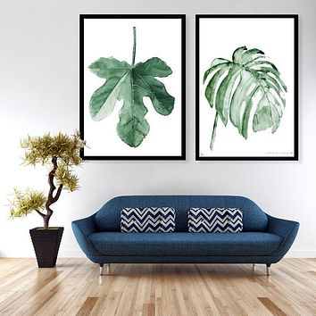 Watercolor Tropical Leaf Canvas Art Print Poster, Wall Pictures for Home Decoration, Giclee Wall Decor  195
