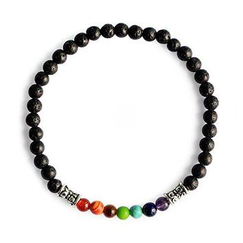 MeampHz Lava Rock 7 Chakra Beads Healing Bracelets Yoga Meditation Prayer 4mm Stretch Bracelet for Women