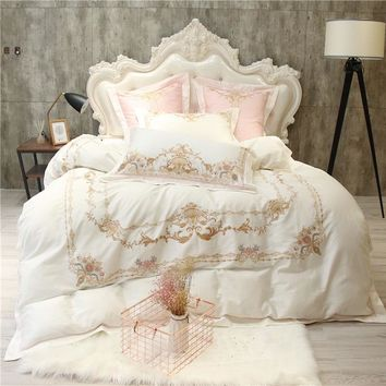 White Blue Egyptian cotton King Queen size Bedding Set Luxury Oriental Embroidery bed set cotton Bedlinen sheet Duvet cover set