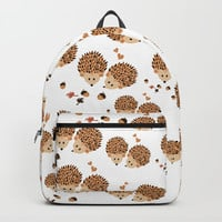 Hedgehogs in autumn Backpacks by VanessaGF