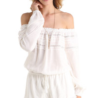 RUFFLED OFF THE SHOULDER CROCHET ROMPER - WHITE